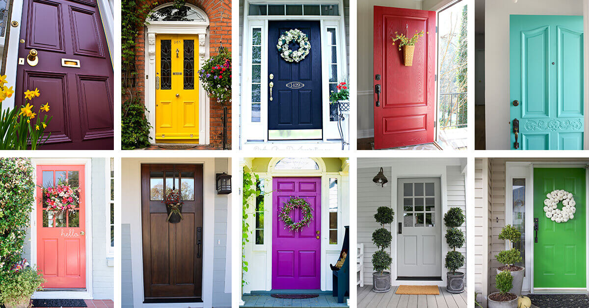 Plants and colors that go best with a bright front door - Popular front door colors ...
